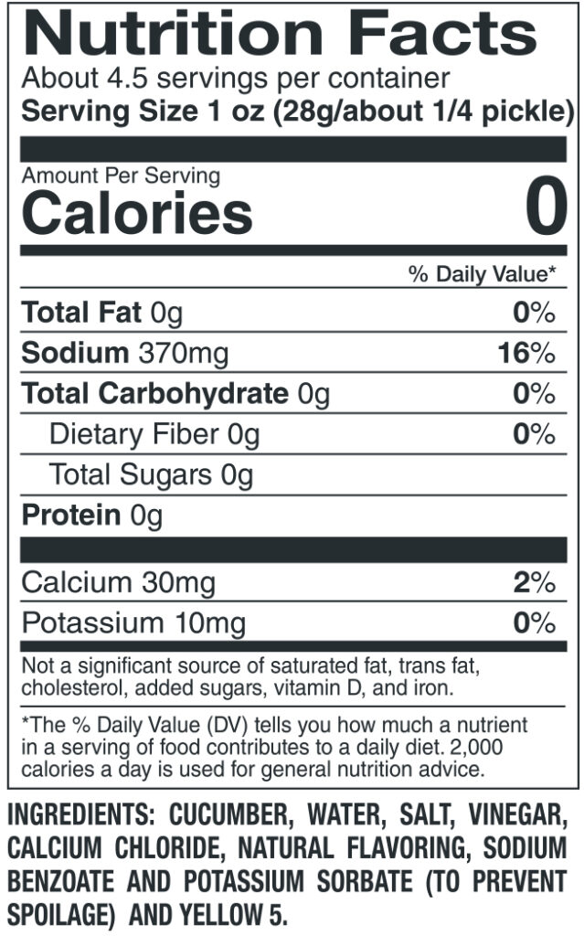 412 Large Dill Nutrition Facts Ingredients
