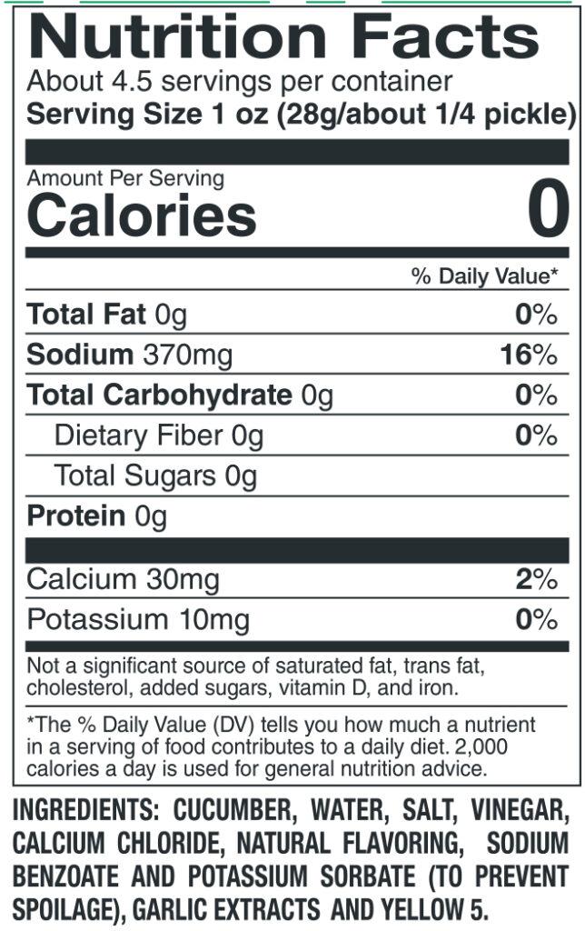 412 Kosher Nutrition Facts Ingredients