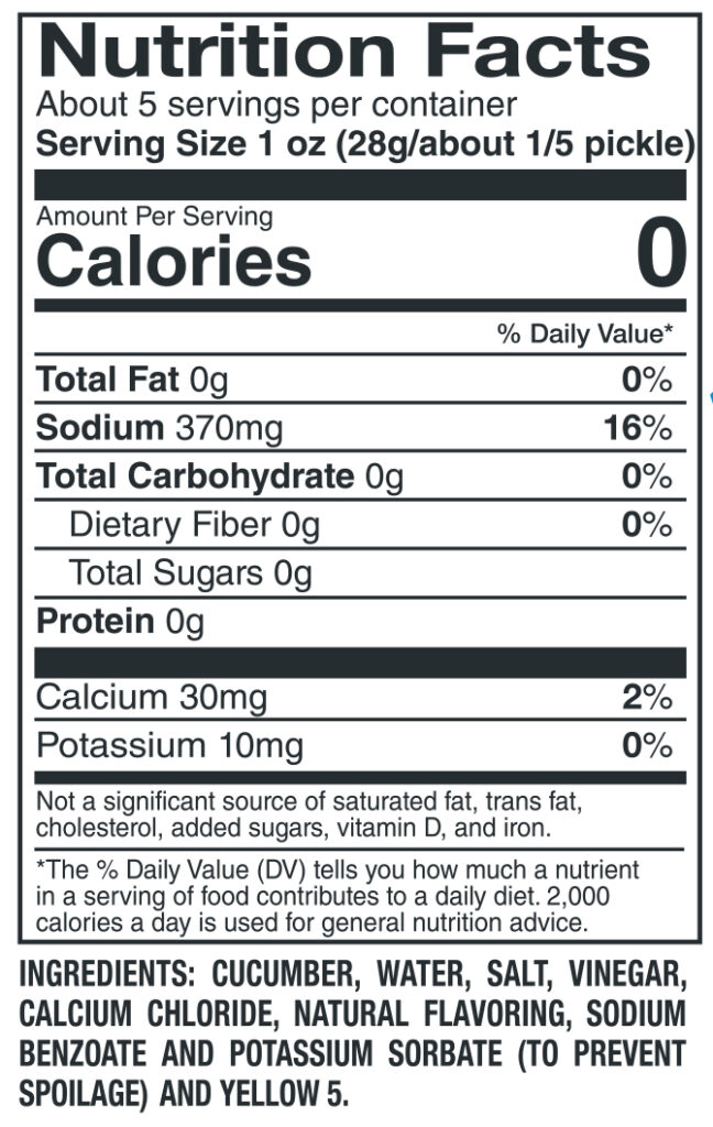 612 Jumbo Dill Nutrition Facts Ingredients