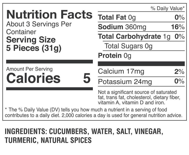 Pickle Cutz Dill Nutrition Facts 2021