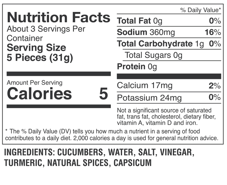 Pickle Cutz Spicy Nutrition Facts
